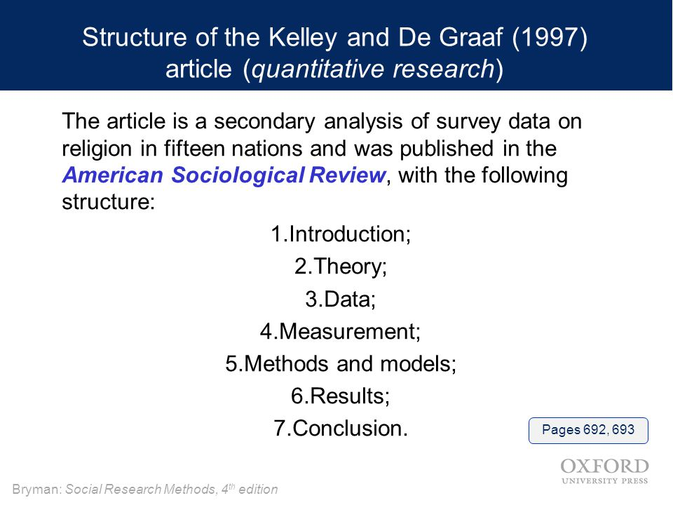 Structure of the Kelley and De Graaf (1997) article (quantitative research)