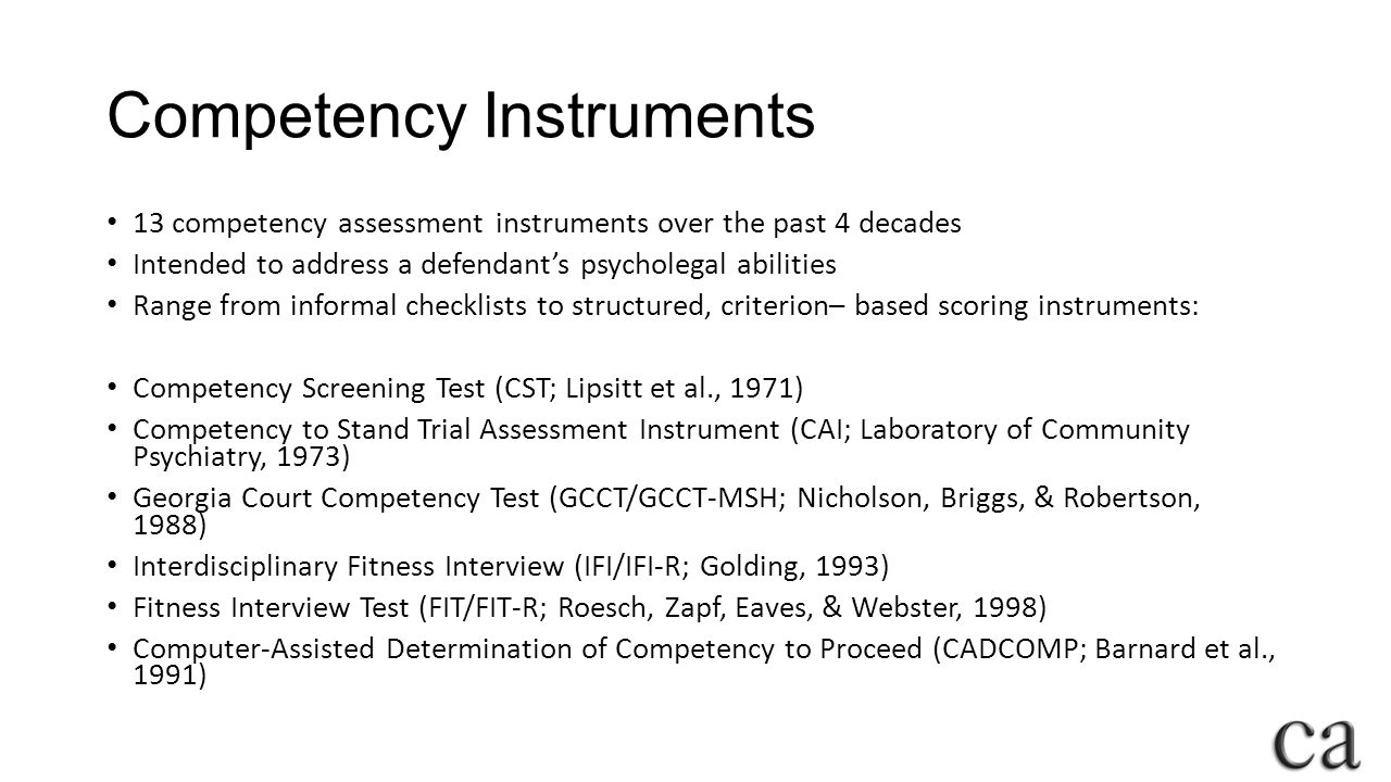 competency to stand trial assessment tools