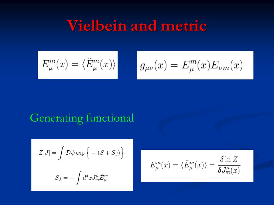 Vielbein and metric Generating functional
