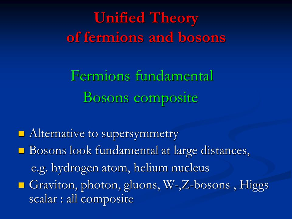 Unified Theory of fermions and bosons
