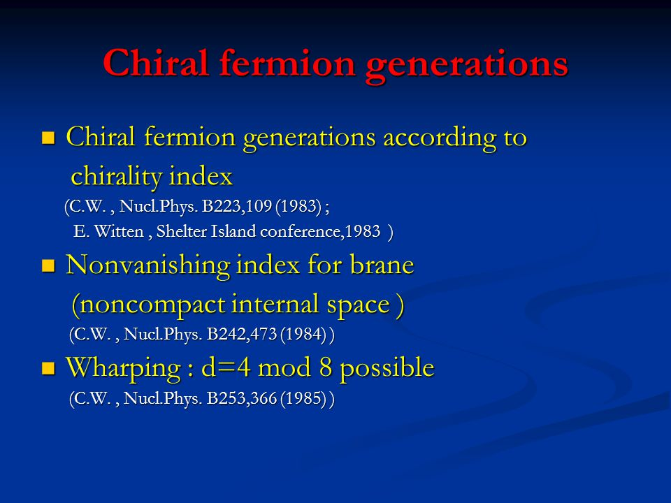 Chiral fermion generations