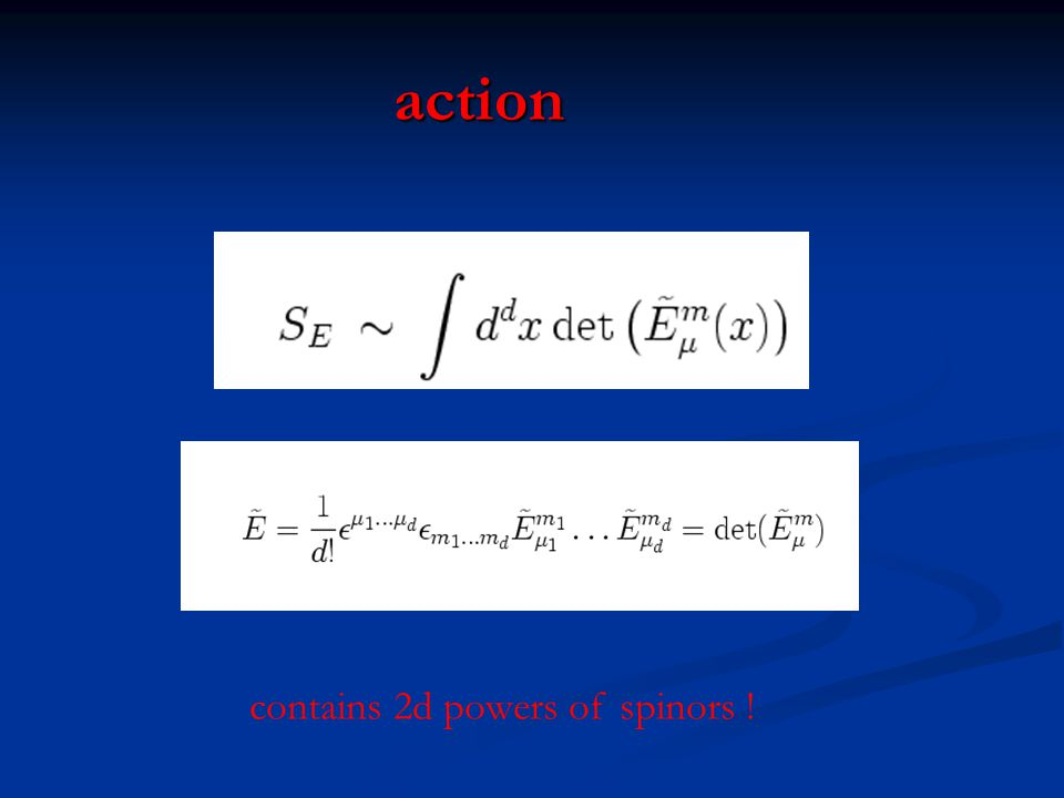 action contains 2d powers of spinors !