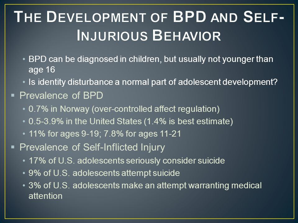 The Development of BPD and Self-Injurious Behavior
