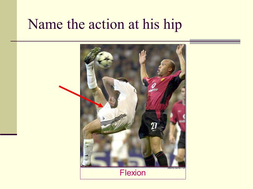 Name the action at his hip