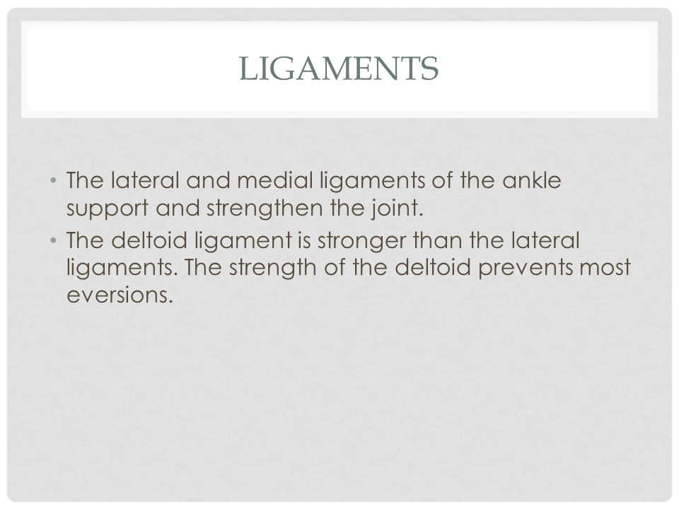 Ligaments The lateral and medial ligaments of the ankle support and strengthen the joint.