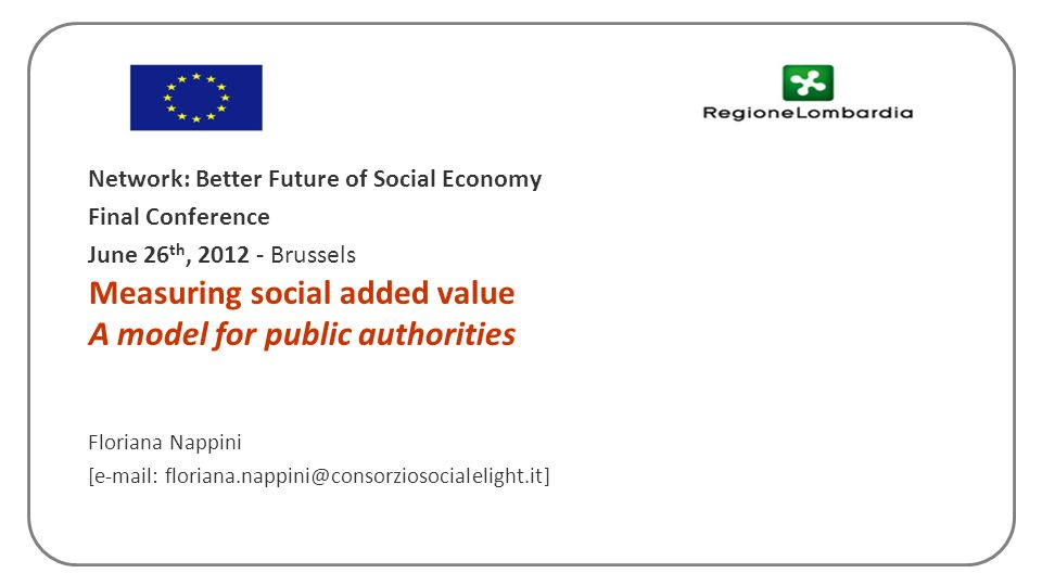Measuring social added value A model for public authorities