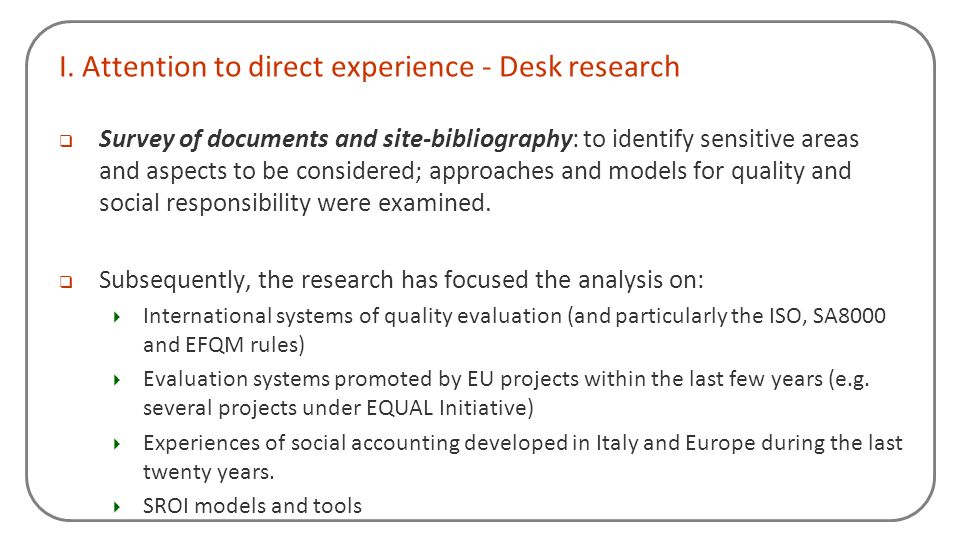 I. Attention to direct experience - Desk research