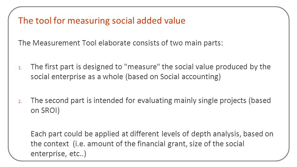 The tool for measuring social added value