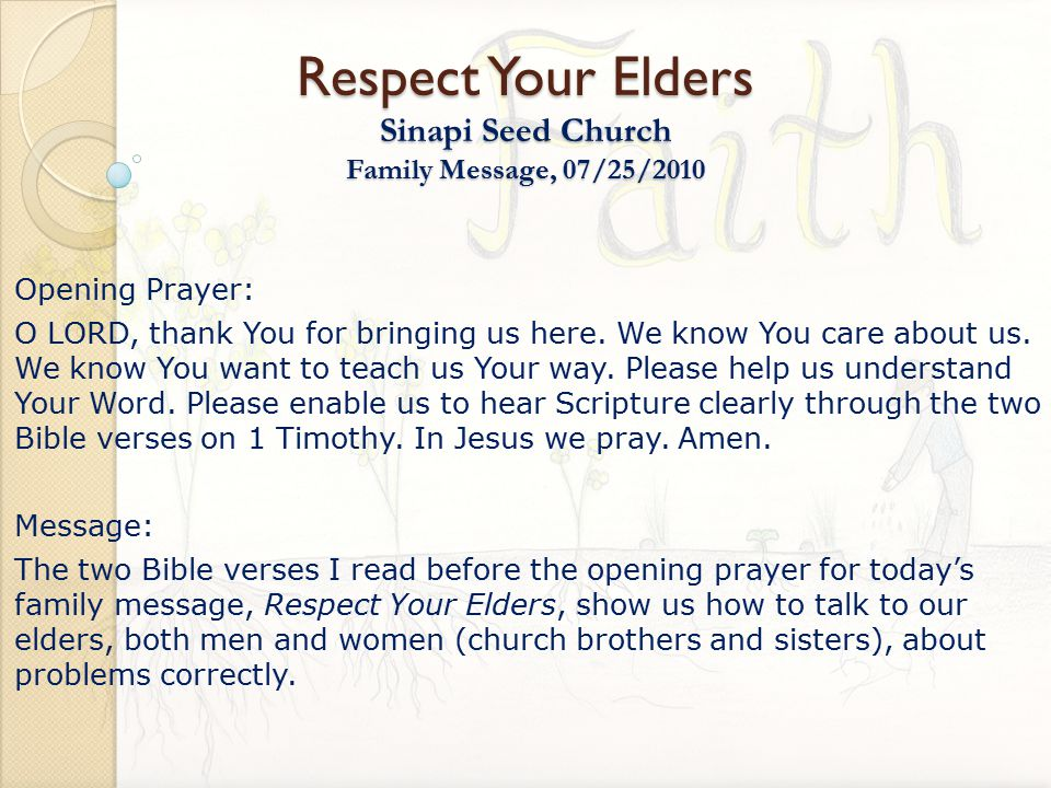 respect your elders sinapi seed church family message 07 25 ppt
