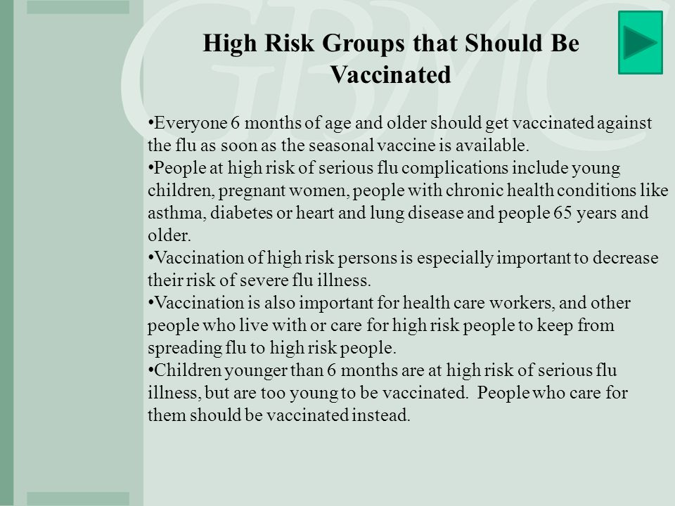 High Risk Groups that Should Be Vaccinated