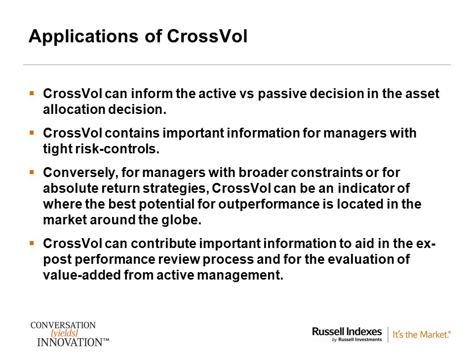 Applications of CrossVol