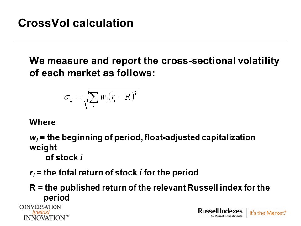CrossVol calculation We measure and report the cross-sectional volatility of each market as follows: