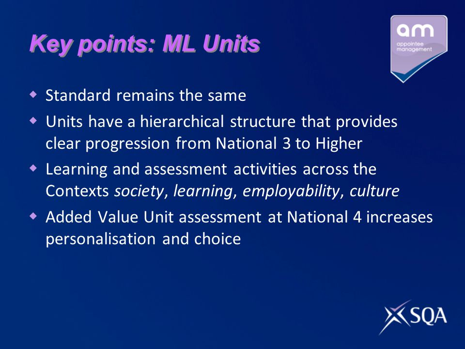 Key points: ML Units Standard remains the same