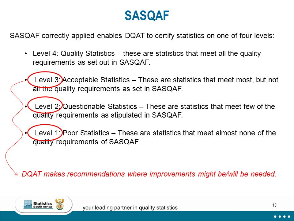 SASQAF SASQAF correctly applied enables DQAT to certify statistics on one of four levels: