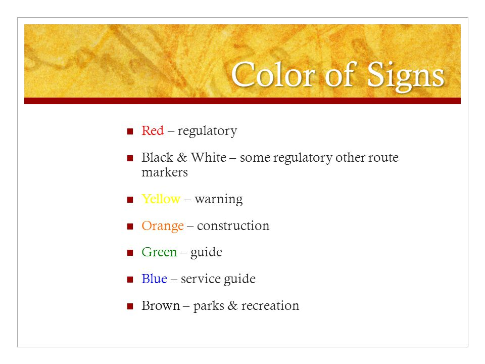 Color of Signs Red – regulatory