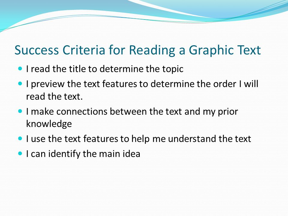 Success Criteria for Reading a Graphic Text