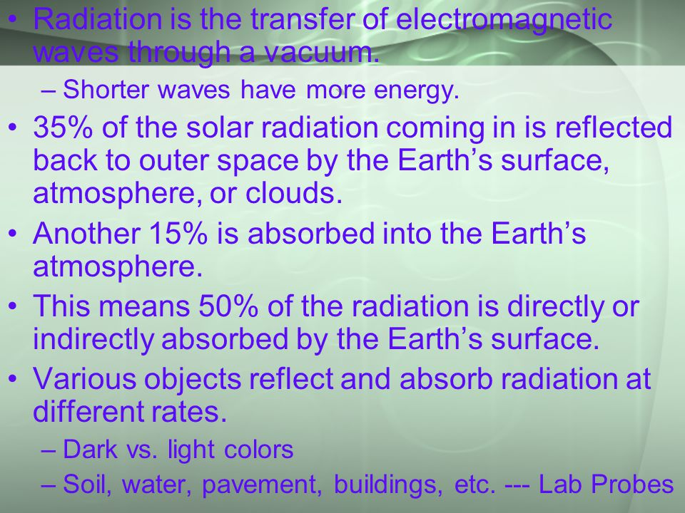 ` Radiation is the transfer of electromagnetic waves through a vacuum.