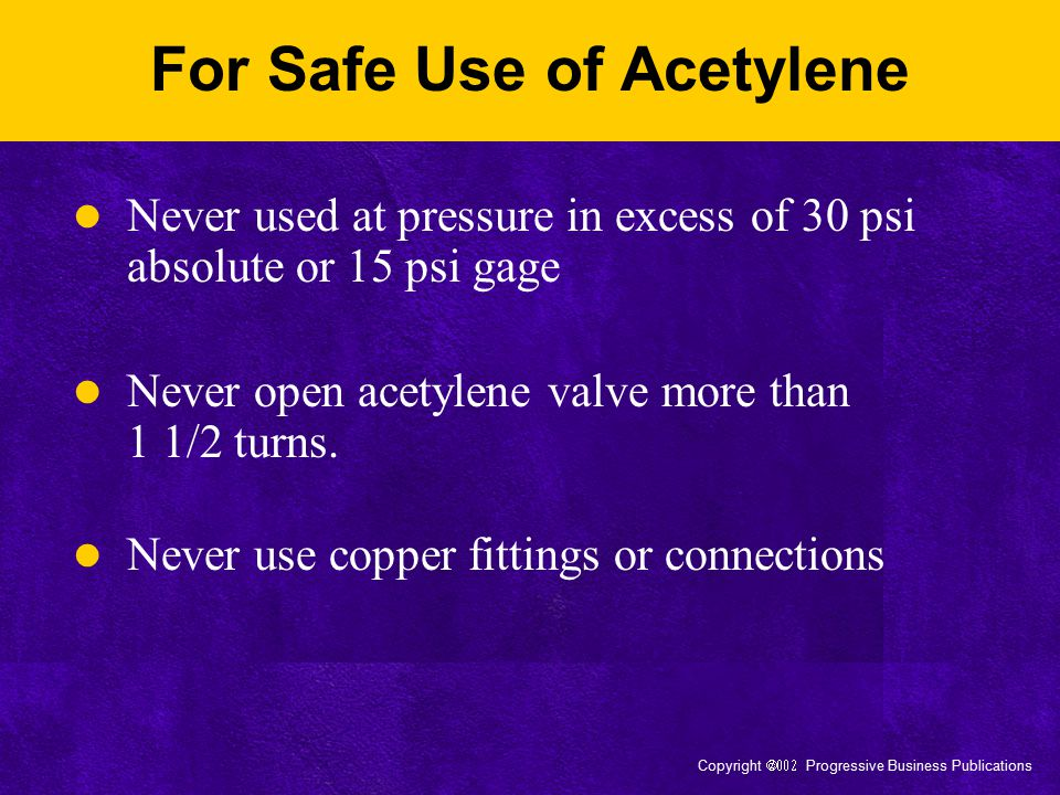 For Safe Use of Acetylene