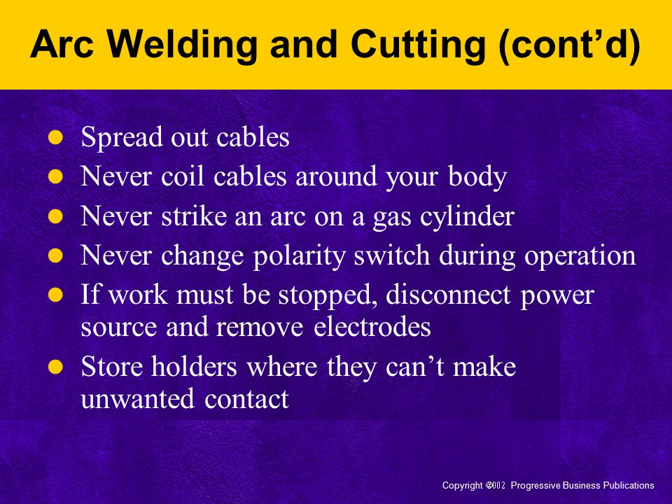 Arc Welding and Cutting (cont'd)
