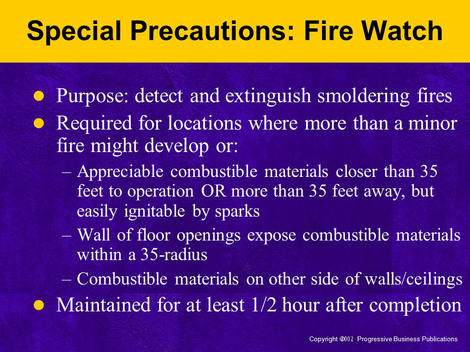 Special Precautions: Fire Watch