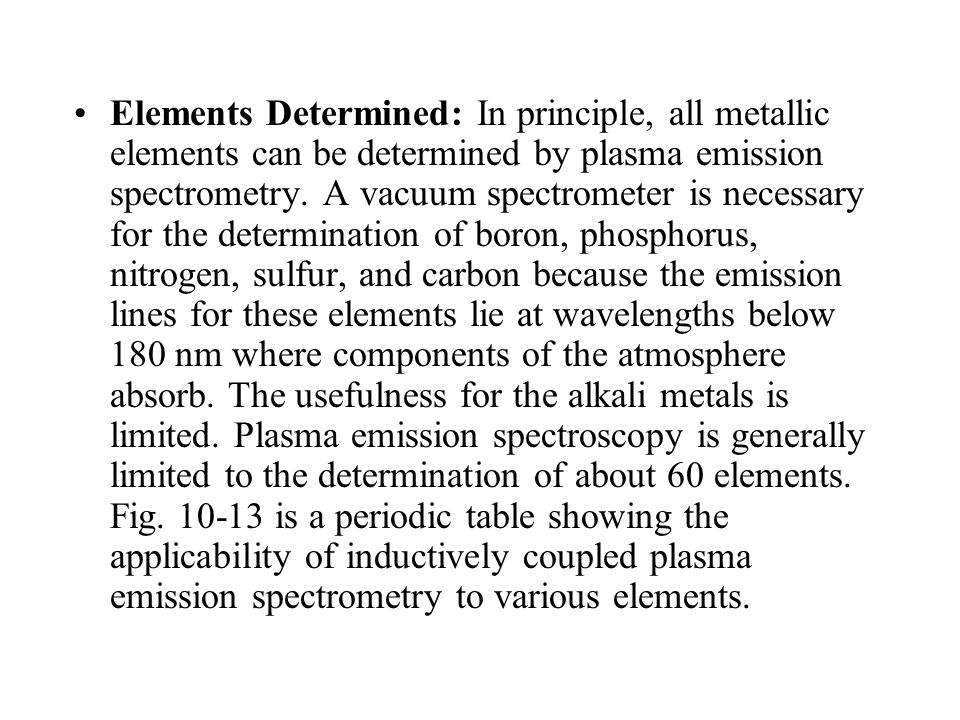Elements Determined: In principle, all metallic elements can be determined by plasma emission spectrometry.