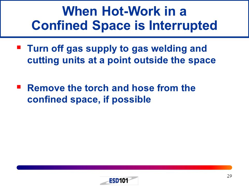 When Hot-Work in a Confined Space is Interrupted