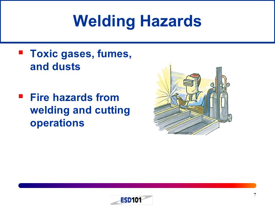 Welding Hazards Toxic gases, fumes, and dusts