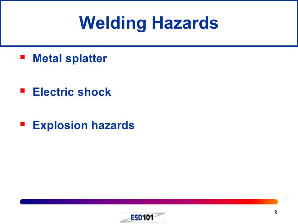 Welding Hazards Metal splatter Electric shock Explosion hazards