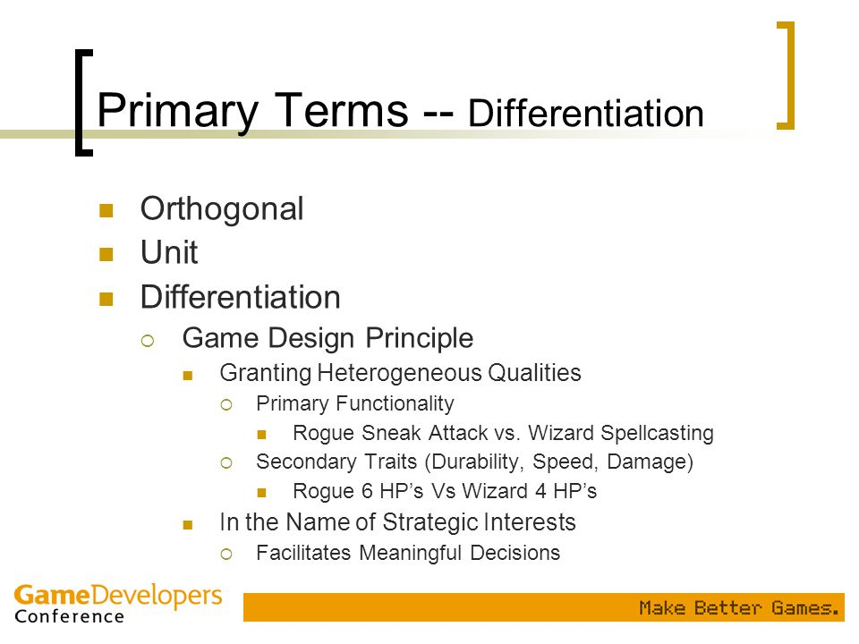 Primary Terms -- Differentiation