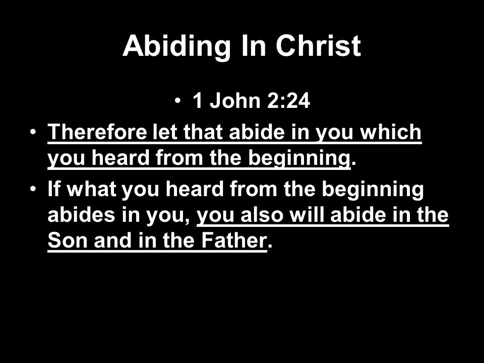 Abiding In Christ 1 John 2:24
