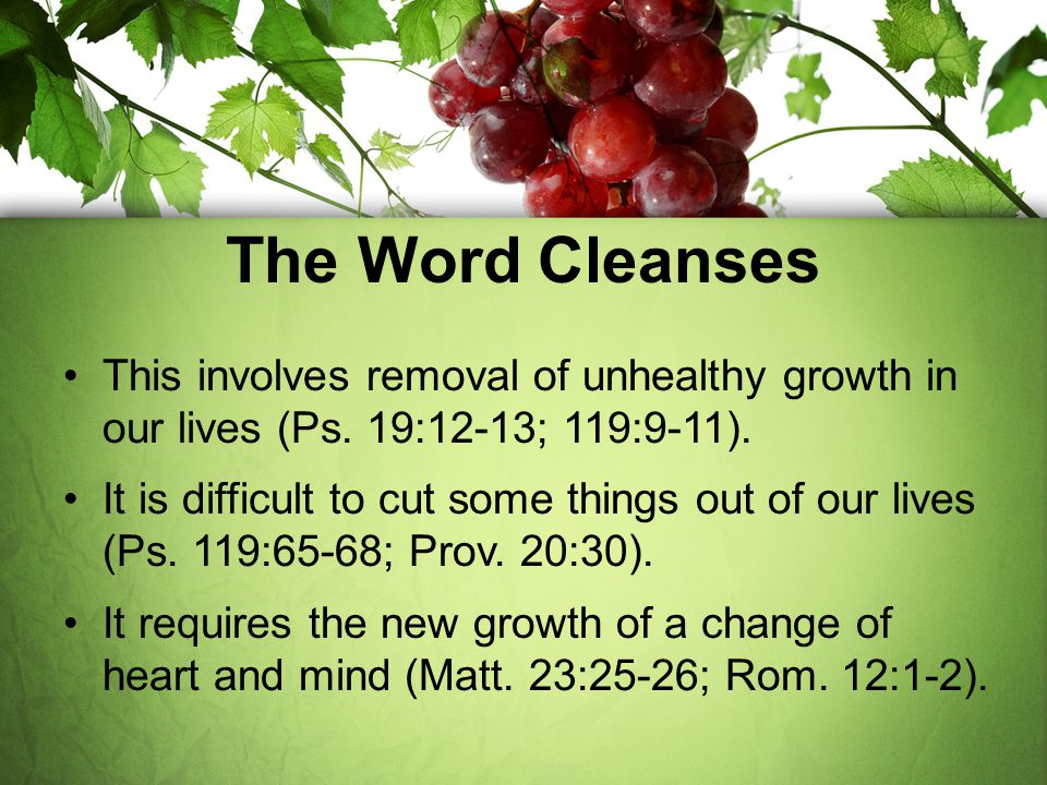 The Word Cleanses This involves removal of unhealthy growth in our lives (Ps. 19:12-13; 119:9-11).