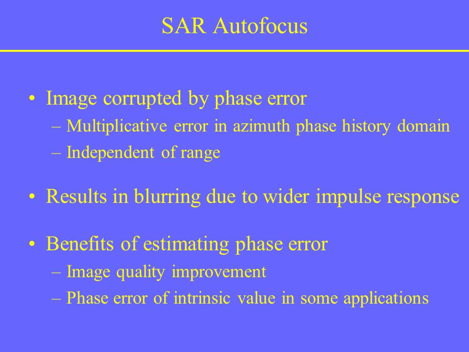 SAR Autofocus Image corrupted by phase error