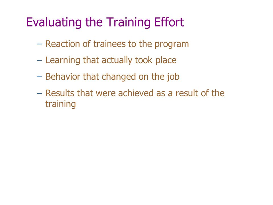 Evaluating the Training Effort