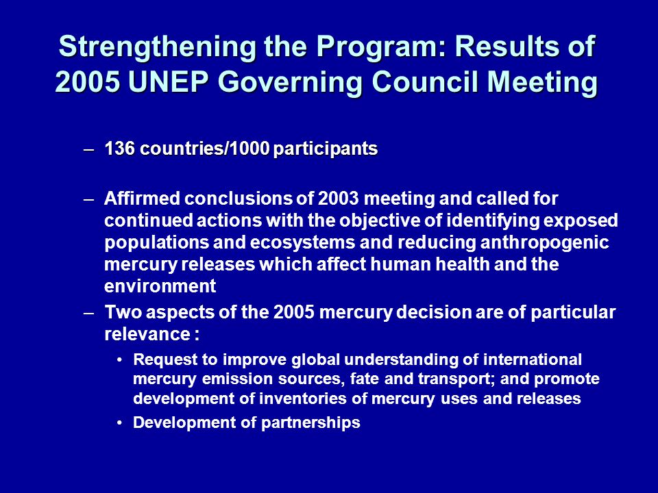 Strengthening the Program: Results of 2005 UNEP Governing Council Meeting