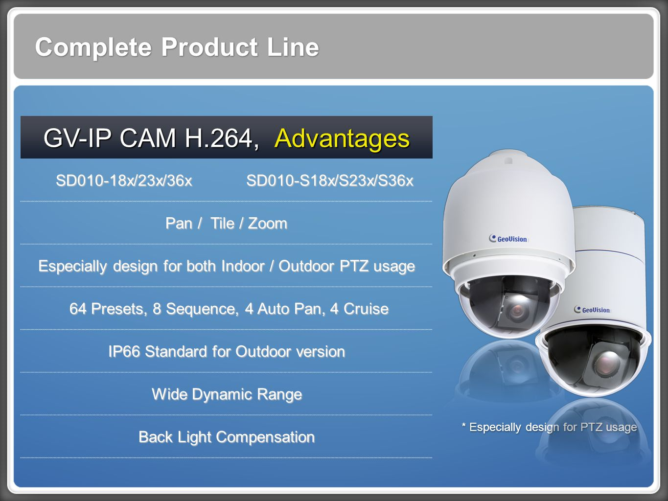 Complete Product Line GV-IP CAM H.264, Advantages SD010-18x/23x/36x