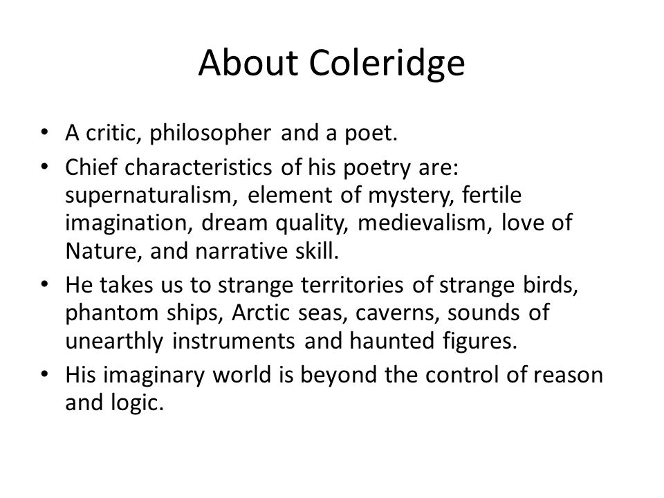coleridge as a poet of nature