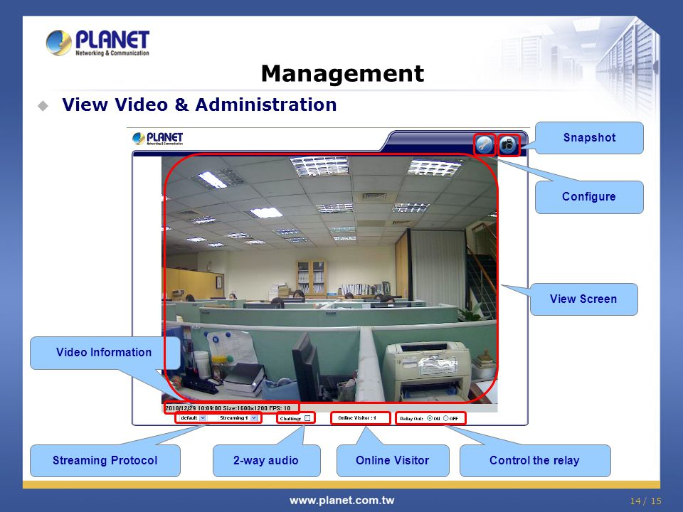 Management View Video & Administration Snapshot Configure View Screen