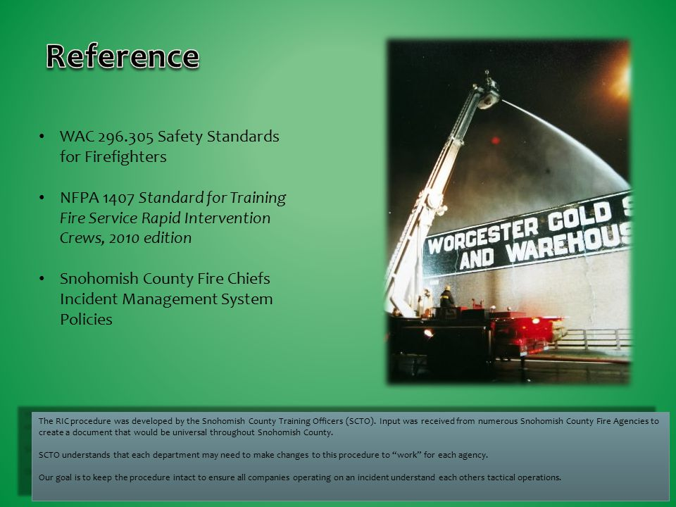 Reference WAC Safety Standards for Firefighters
