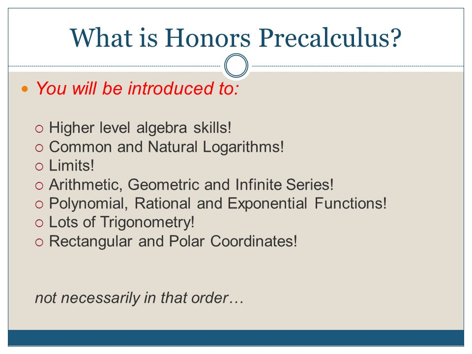 Unit 1: Honors Precalculus