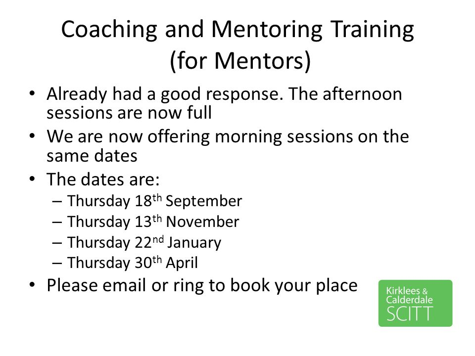 Coaching and Mentoring Training (for Mentors)