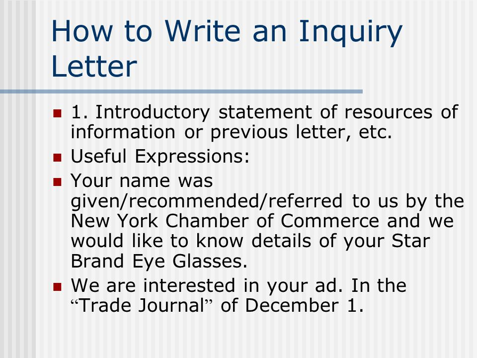 Chapter 7 enquiries an enquiryalso spelt inquiry letter asks for how to write an inquiry letter expocarfo Image collections