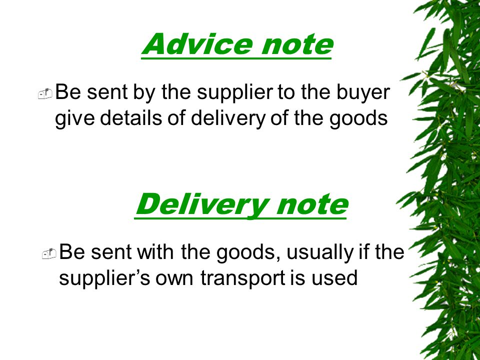 Advice note Delivery note