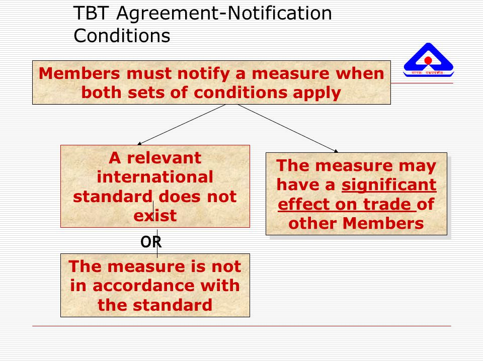 TBT Agreement-Notification Conditions