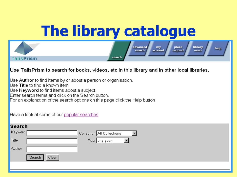 The library catalogue
