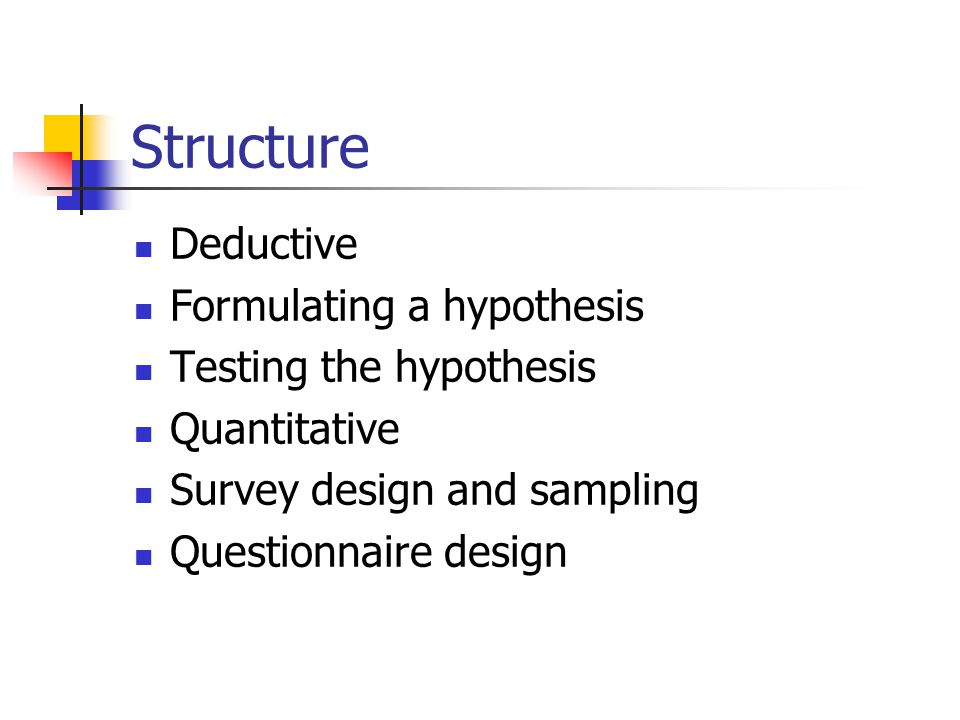 Structure Deductive Formulating a hypothesis Testing the hypothesis