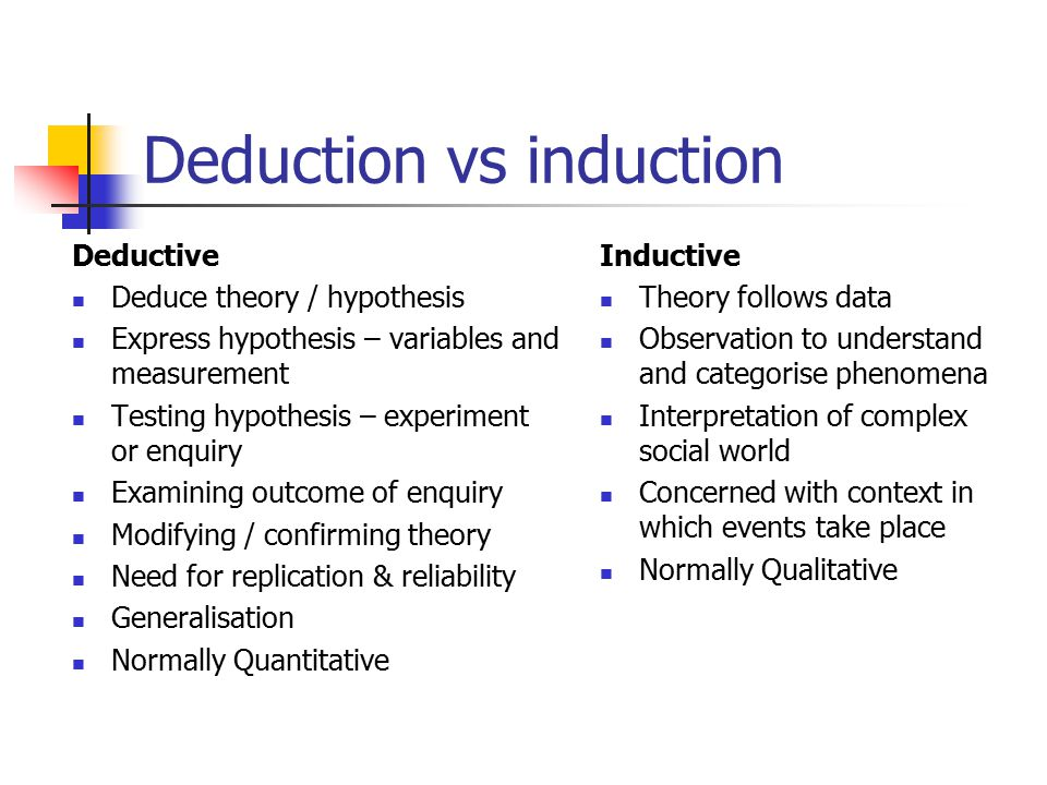 Deduction vs induction