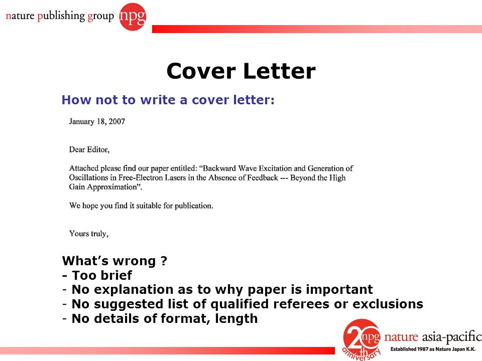 Nature Cover Letter Length - Stay up to date