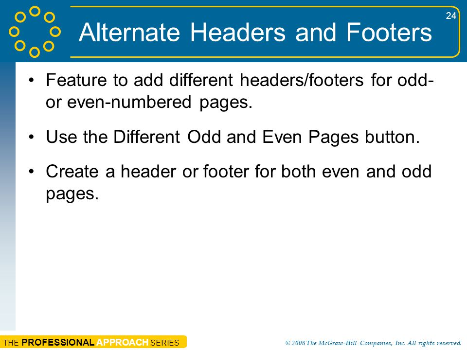 Alternate Headers and Footers