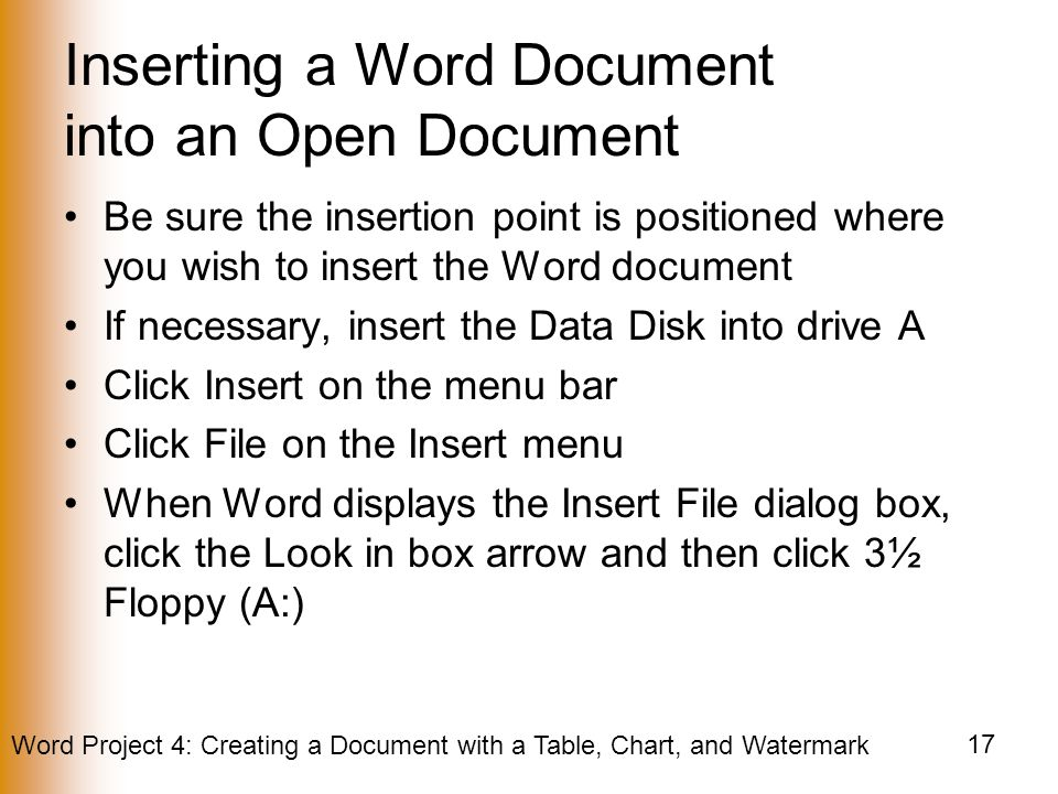 Inserting a Word Document into an Open Document