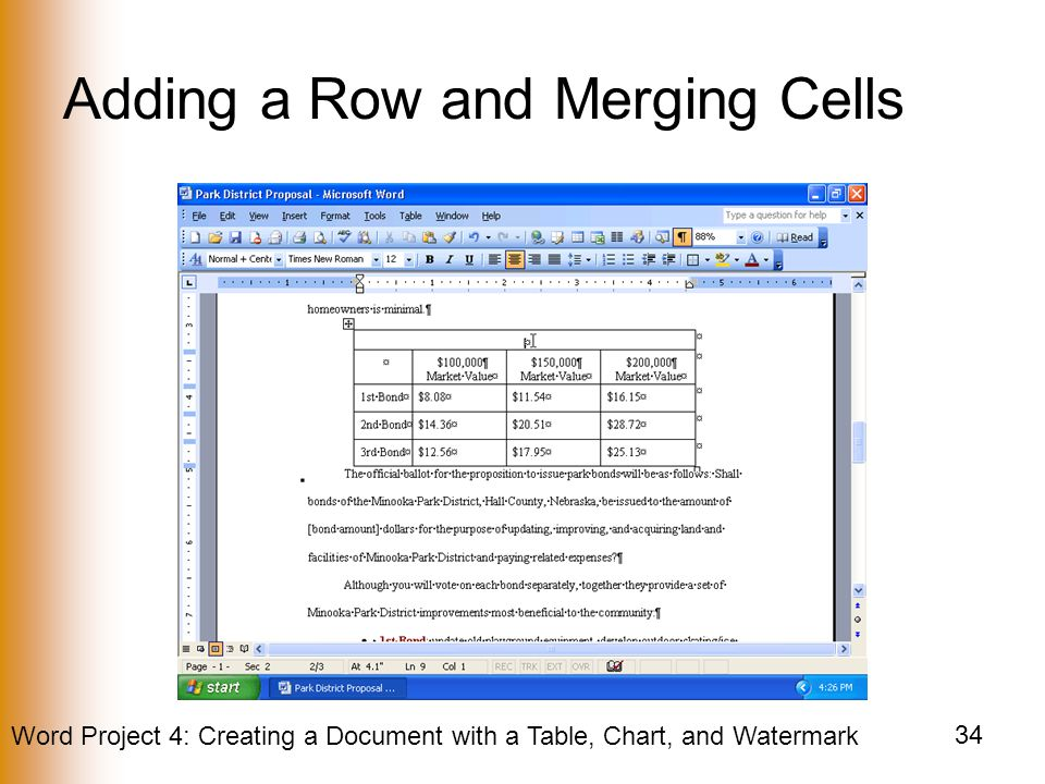 Adding a Row and Merging Cells